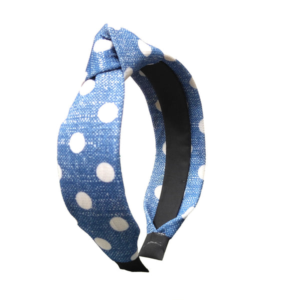 Anokhi Ada Handmade Blue Polka Dots Design Fabric Knot Hairband/Headband for Girls and Women -14-20H