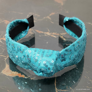 Anokhi Ada Handmade Blue Net Fabric Shiny and Glittery Knot Hairband/Headband for Girls and Women -14-26H