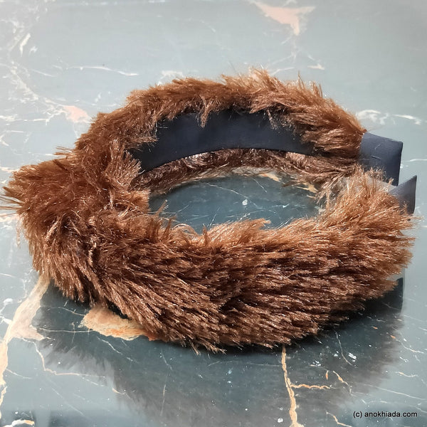 Anokhi Ada Handmade Brown Fur Fabric Knot Hairband/Headband for Girls and Women -14-38H