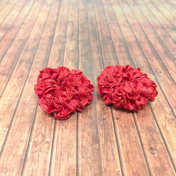 Anokhi Ada Red Fabric small Scrunchie for Girls and Women (15-16 Scrunchie, 2 Pcs)