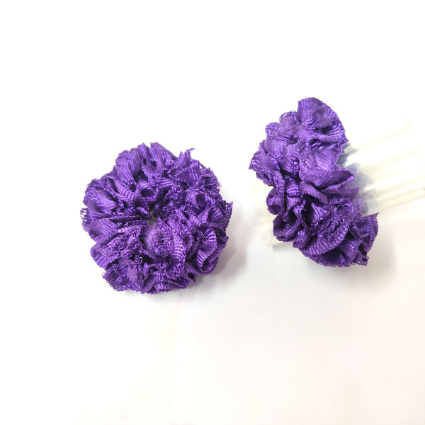 Anokhi Ada Purple Fabric small Scrunchie for Girls and Women (15-21 Scrunchie, 2 Pcs)