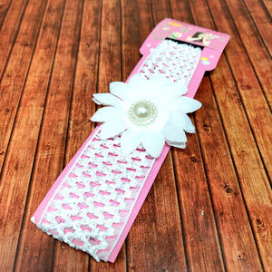 Floral Soft Stretchy Headbands for Baby Girls and Newborn (17-01 White Baby Headband)