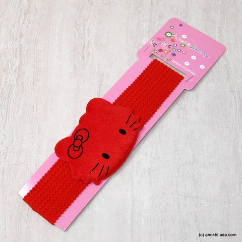 Kitty Red Soft Stretchy Headbands for Baby Girls and Girls (17-43)
