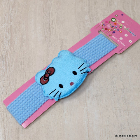 Kitty Sky Blue Soft Stretchy Headbands for Baby Girls and Girls (17-47)