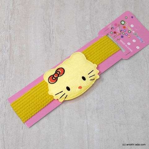Kitty Yellow Soft Stretchy Headbands for Baby Girls and Girls (17-48)
