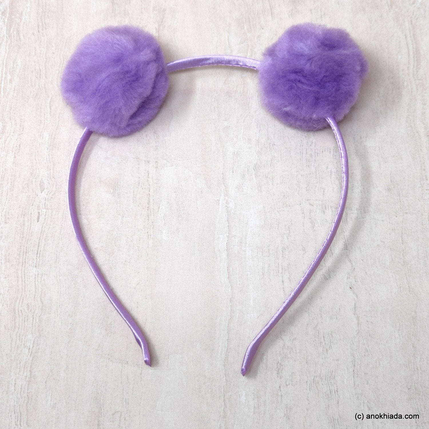 Anokhi Ada Fur Balls with Metal Hairband/Headband for Kids, Girls and Women (Purple)- 18-03H