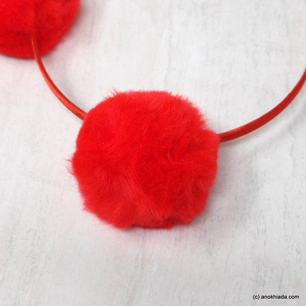 Anokhi Ada Fur Balls with Metal Hairband/Headband for Kids, Girls and Women (Red)- 18-07H