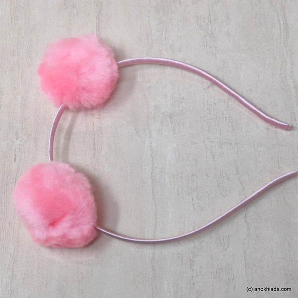 Anokhi Ada Fur Balls with Metal Hairband/Headband for Kids, Girls and Women (Baby Pink)- 18-09H