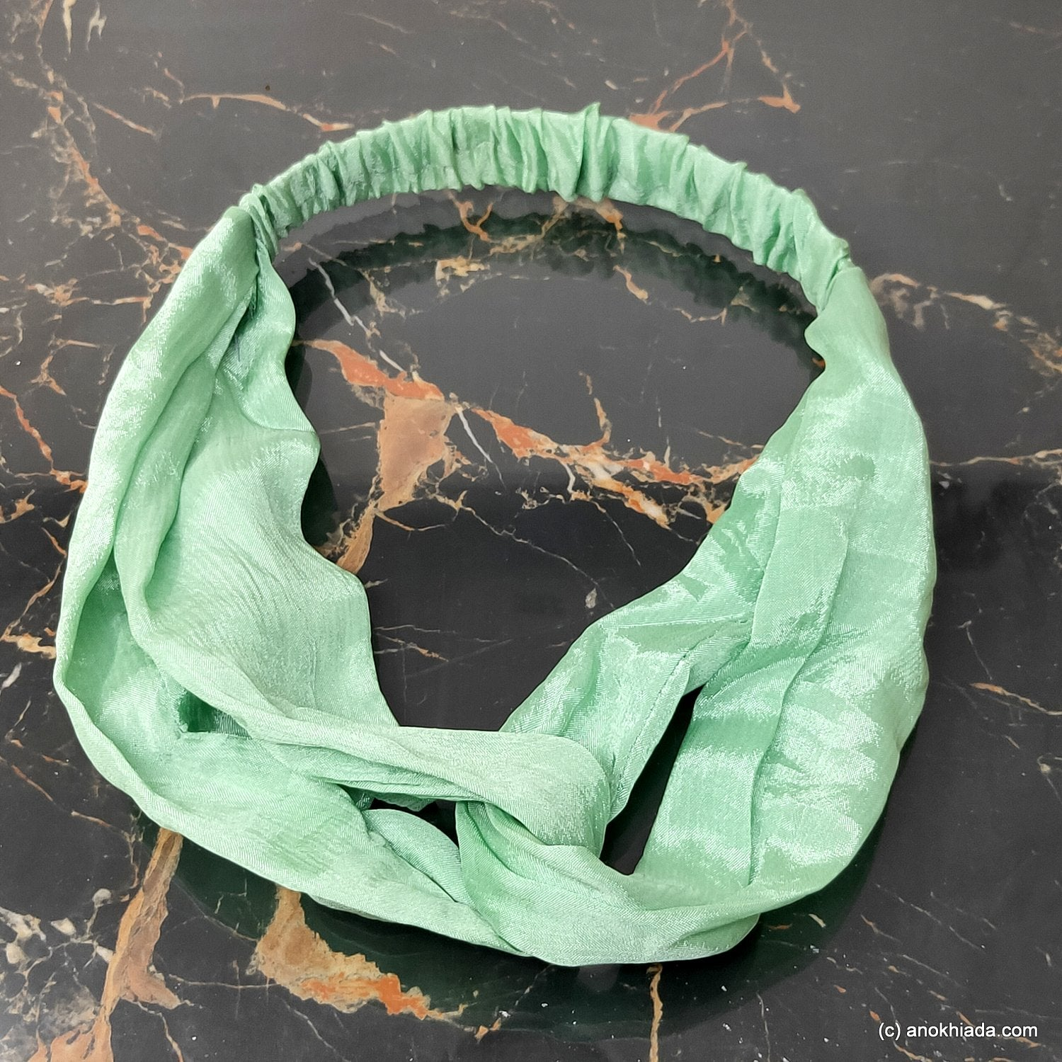 Anokhi Ada Handmade Green Fabric Soft Headbands/ Boho Headbands  for Girls and Women (22-03)