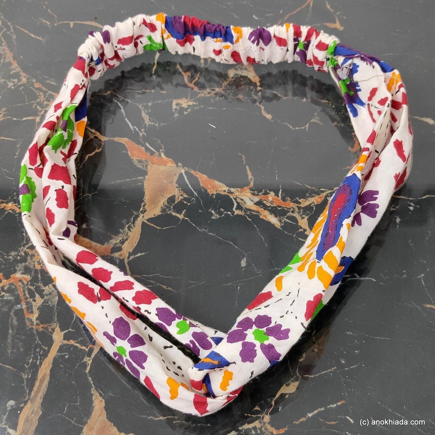 Anokhi Ada Handmade Multi-Colour Printed Fabric Soft Headbands/ Boho Headbands  for Girls and Women (22-04)