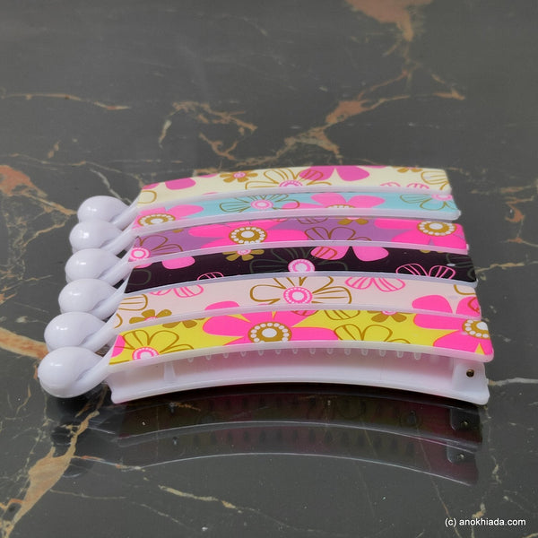 Floral Print Multi-Color Banana Hair Clip for Girls & Woman (Set of 6, 98-20 Banana Hair Clips)