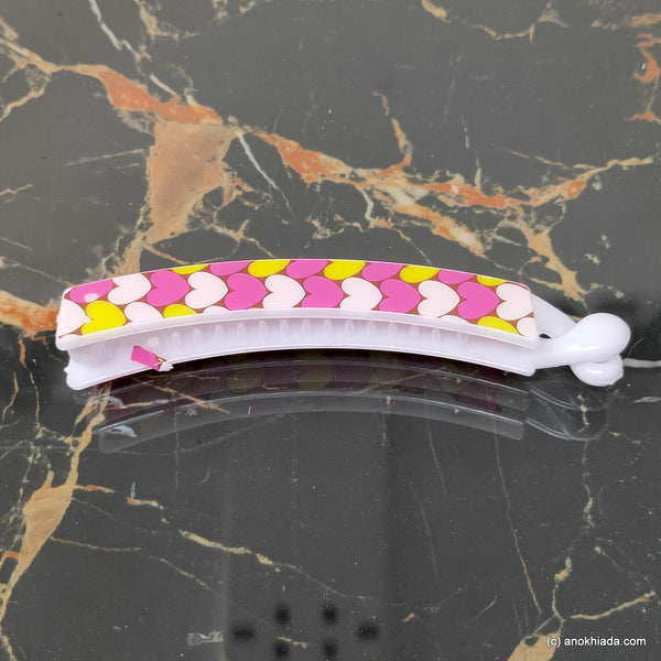 Heart Print Banana Hair Clip for Girls & Woman (98-21f Banana Hair Clips)