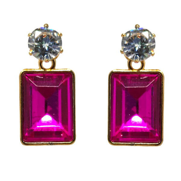 Anokhi Ada Metal Drop Earrings for Girls and Women (Dark Pink)-AA-08