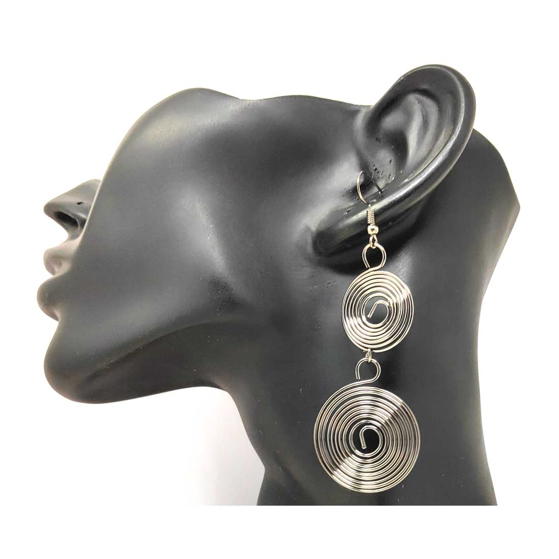 Anokhi Ada Metal Drop and Dangle Earrings for Girls and Women (Silver)-AC-05