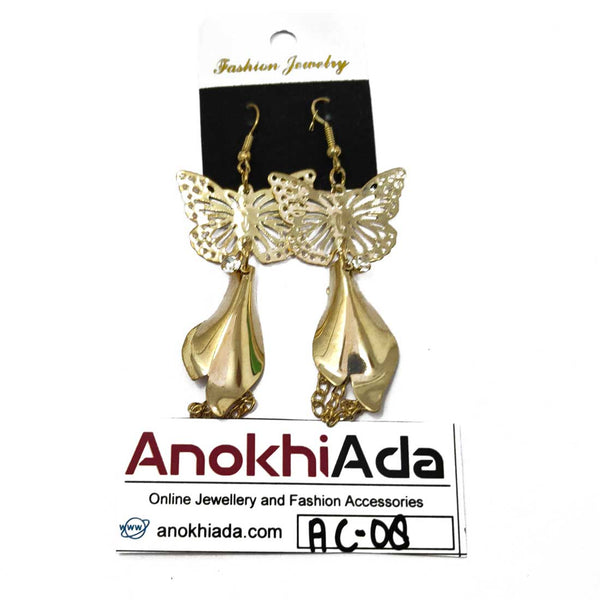 Anokhi Ada Metal Drop and Dangle Earrings for Girls and Women (Golden)-AC-08
