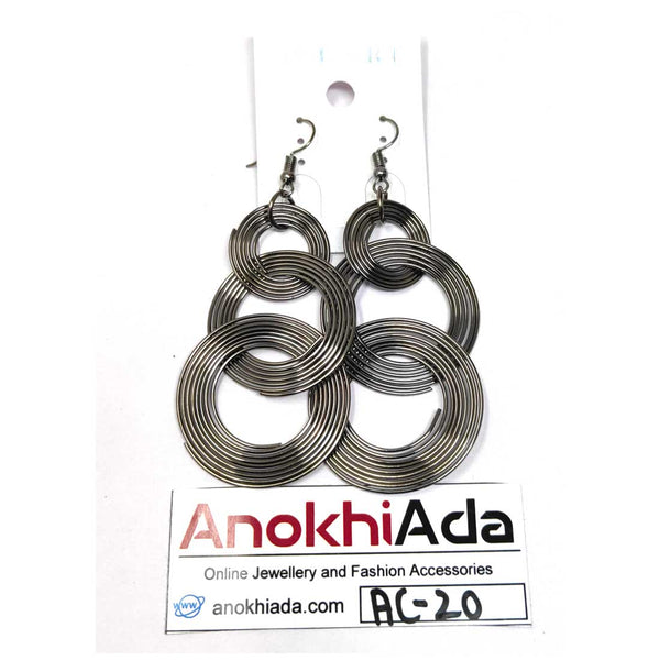 Anokhi Ada Metal Drop and Dangle Earrings for Girls and Women (Silver)-AC-20