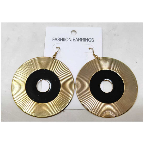 Anokhi Ada Metal Dangle  Earrings for Girls and Women (Golden and Black)-AD-04