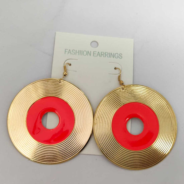 Anokhi Ada Metal Dangle  Earrings for Girls and Women (Golden and Magenta)-AD-09