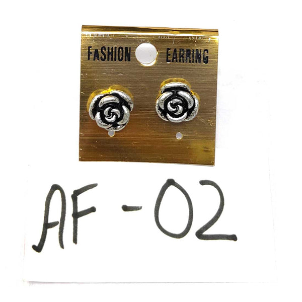 Anokhi Ada Metal Stud Earrings for Girls and Women (Silver and Black)-AF-02