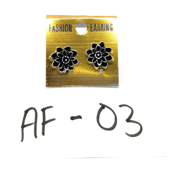Anokhi Ada Metal Stud Earrings for Girls and Women (Silver and Black)-AF-03