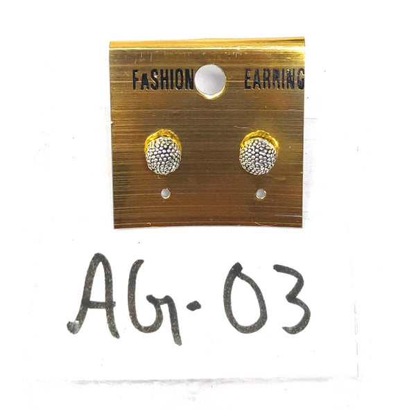 Anokhi Ada Metal Stud Earrings for Girls and Women (Silver)-AG-03