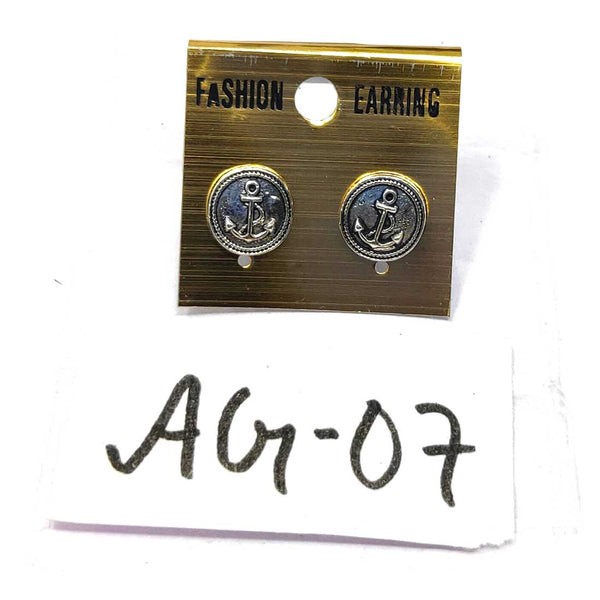 Anokhi Ada Metal Stud Earrings for Girls and Women (Silver)-AG-07