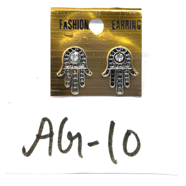 Anokhi Ada Metal Stud Earrings for Girls and Women (Silver)-AG-10