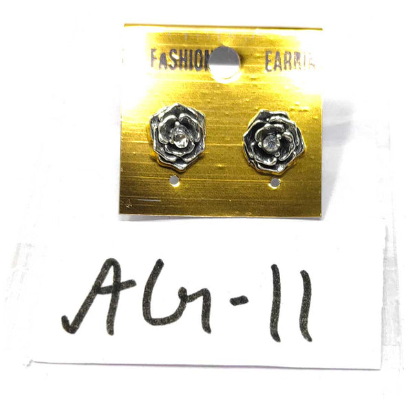 Anokhi Ada Metal Stud Earrings for Girls and Women (Silver)-AG-11