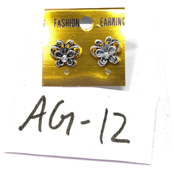 Anokhi Ada Metal Stud Earrings for Girls and Women (Silver)-AG-12