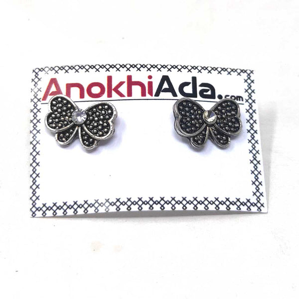Anokhi Ada Metal Stud Earrings for Girls and Women (Silver)-AG-25