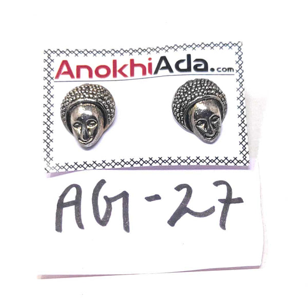 Anokhi Ada Metal Stud Earrings for Girls and Women (Silver)-AG-27