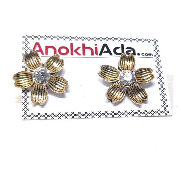 Anokhi Ada Metal Stud Earrings for Girls and Women (Golden)-AG-29