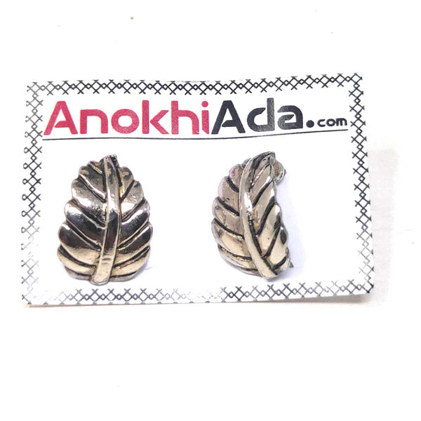 Anokhi Ada Metal J-Hoops Earrings for Girls and Women (Silver)-AG-31