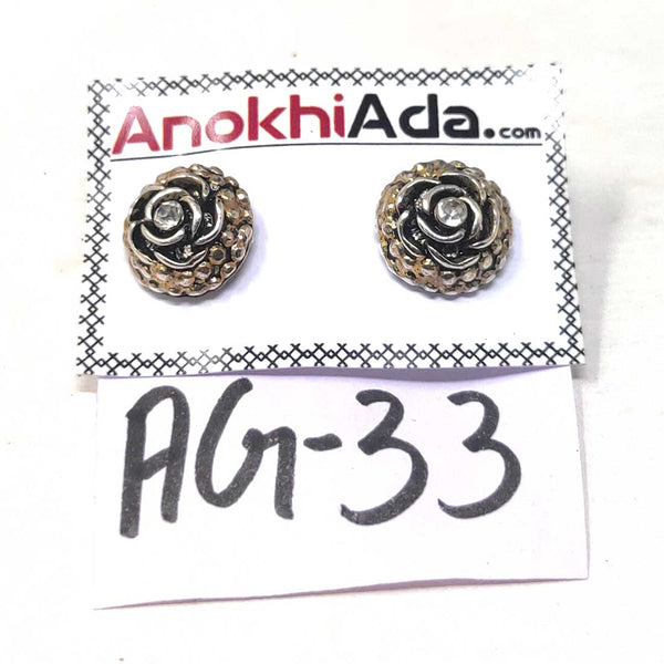 Anokhi Ada Metal Stud Earrings for Girls and Women (Silver)-AG-33