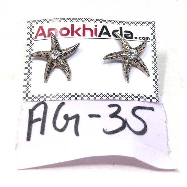 Anokhi Ada Metal Stud Earrings for Girls and Women (Silver)-AG-35
