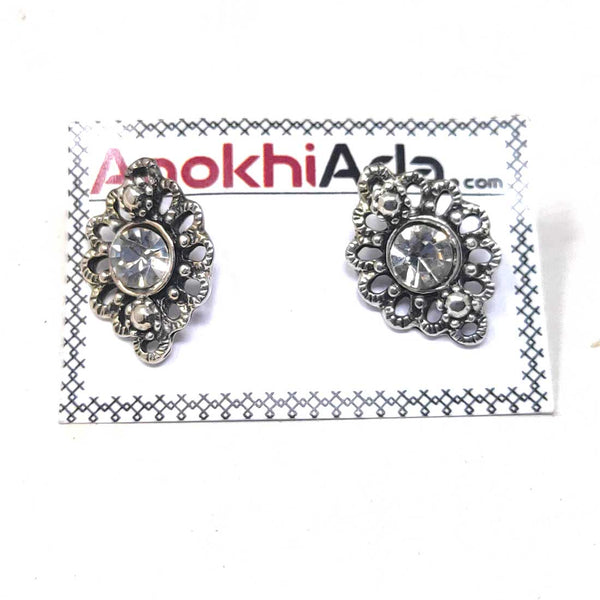 Anokhi Ada Metal Stud Earrings for Girls and Women  (Silver)-AG-36