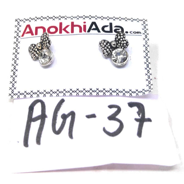 Anokhi Ada Metal Stud Earrings for Girls and Women (Silver)-AG-37