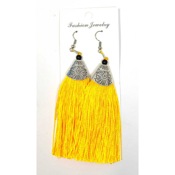 Anokhi Ada Metal Dangle Earrings with Tassel for Girls and Women  (Yellow)-AH-05