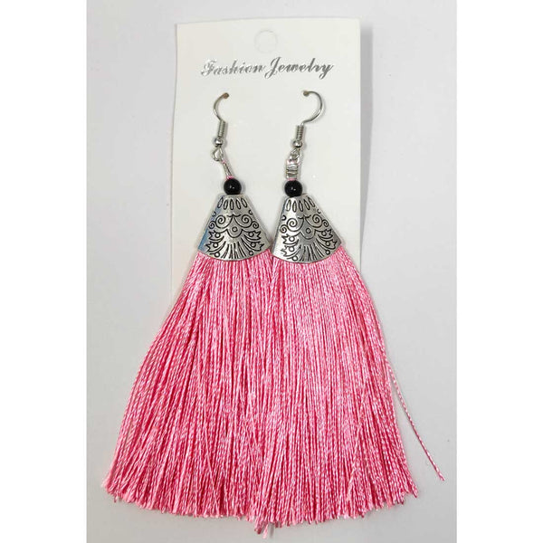 Anokhi Ada Metal Dangle Earrings with Tassel for Girls and Women  (Light Pink)-AH-09