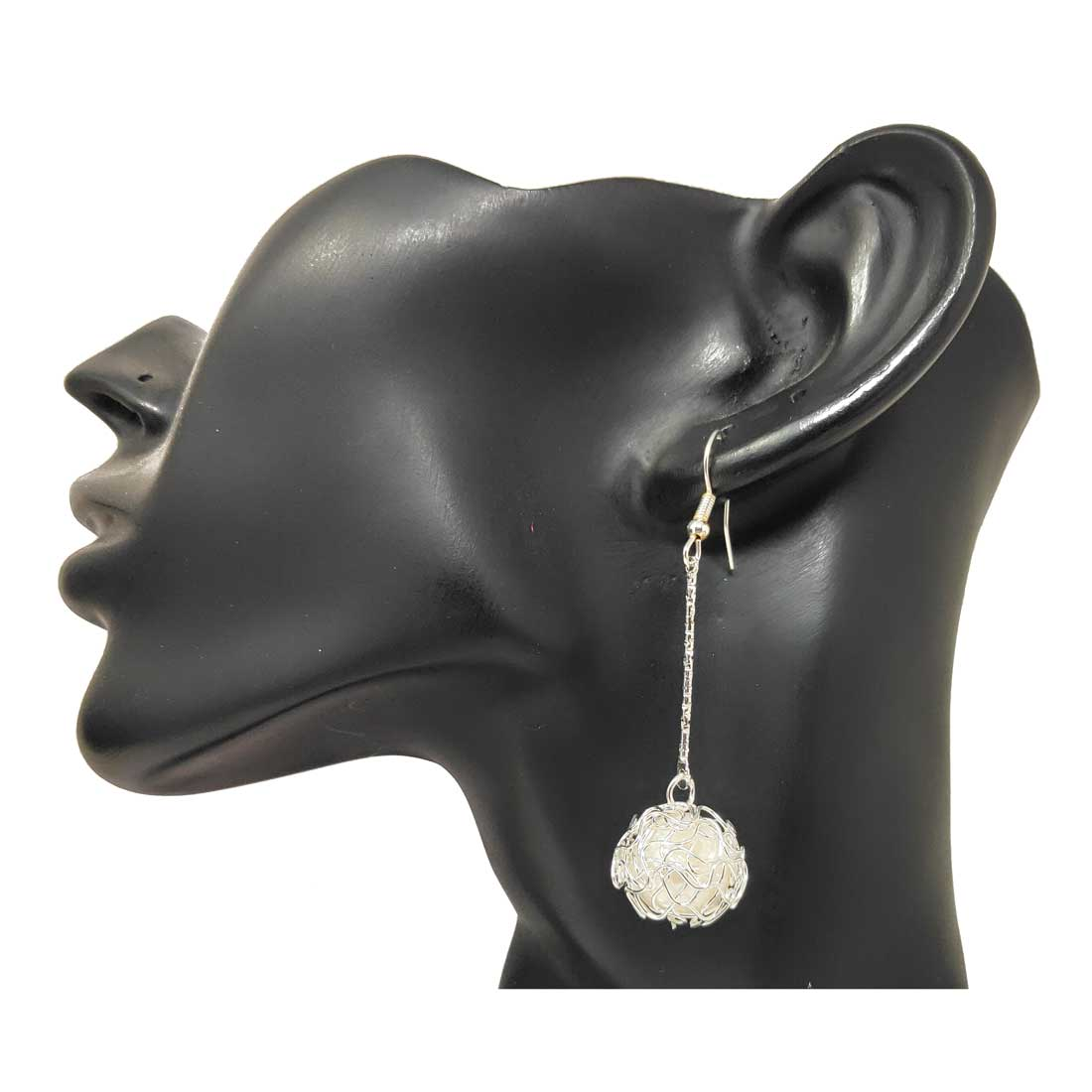 Anokhi Ada Metal Drop and Dangle Earrings for Girls and Women (Silver and White )-AI-02