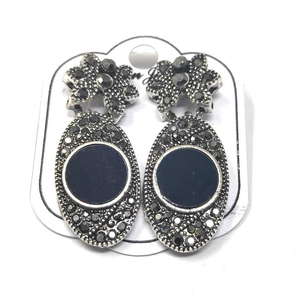 Anokhi Ada Metal Drop and Dangle Earrings for Girls and Women (Silver and Black)-AJ-11