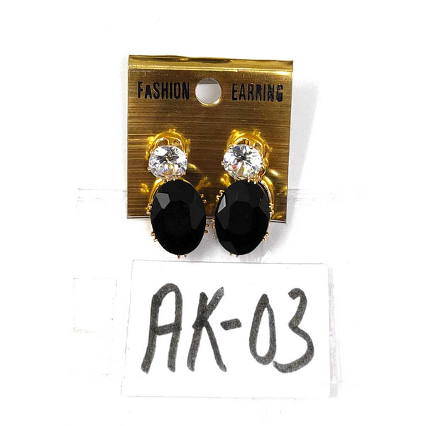 Anokhi Ada Metal Drop and Dangle Earrings for Girls and Women (Black)-AK-03