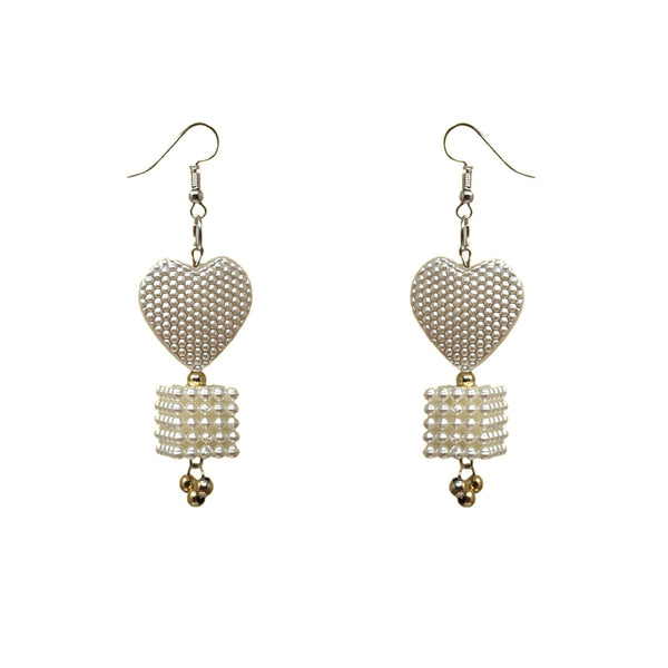 Anokhi Ada White Handmade Beads Earring for Girls and Women (AN-20)
