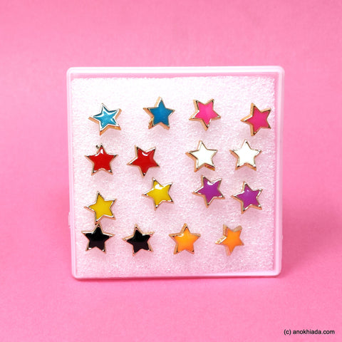 Anokhi Ada Plastic Star Stud Earrings for Girls and Women (Multi-Colour, Pack of 8 Pairs)-AR-01-b