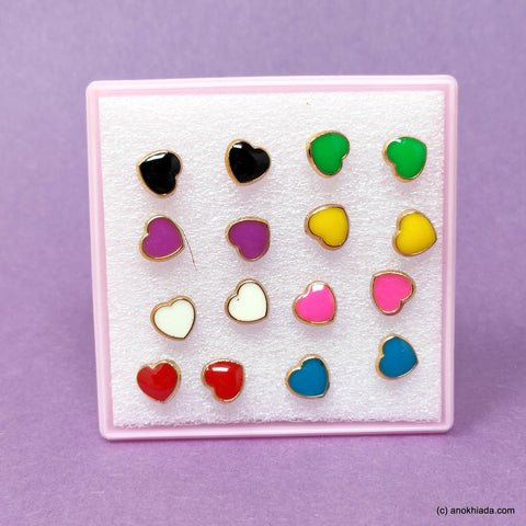 Anokhi Ada Heart Shaped Plastic Stud Earrings for Girls and Women (Multi-Colour, Pack of 8 Pairs)-AR-08-b