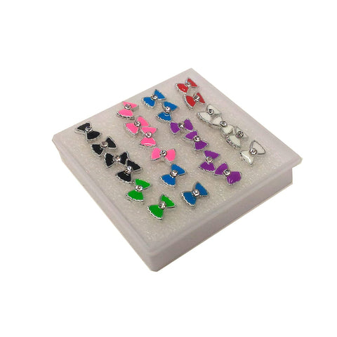 Anokhi ADA Multi-colour Rhinestone Studded Bow Plastic Stud Earrings for Girls and Women (Pack of 12 Pairs)-(AR-12)