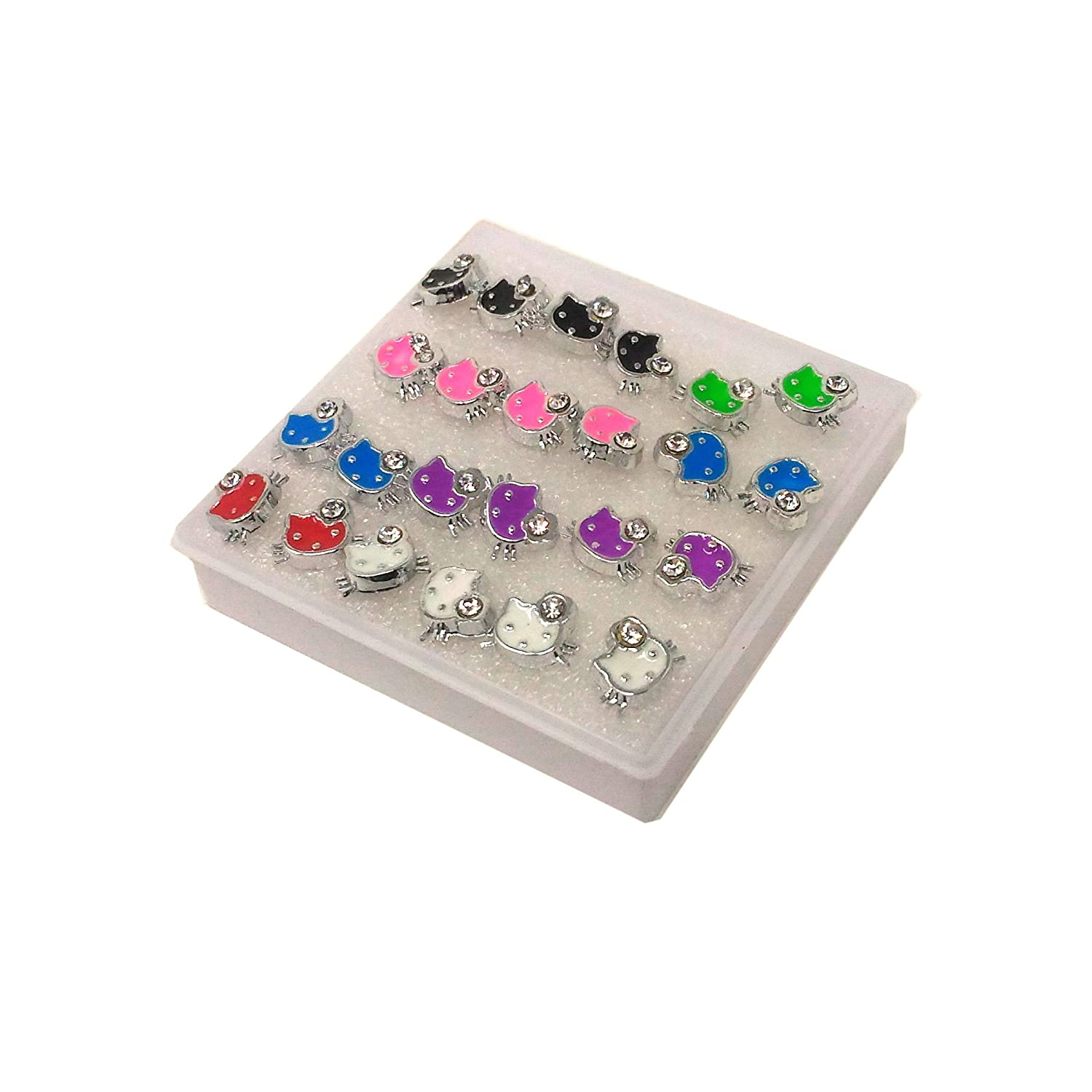 Anokhi ADA Multi-colour Rhinestone Studded Kitty Plastic Stud Earrings for Girls and Women (Pack of 12 Pairs)-(AR-13)