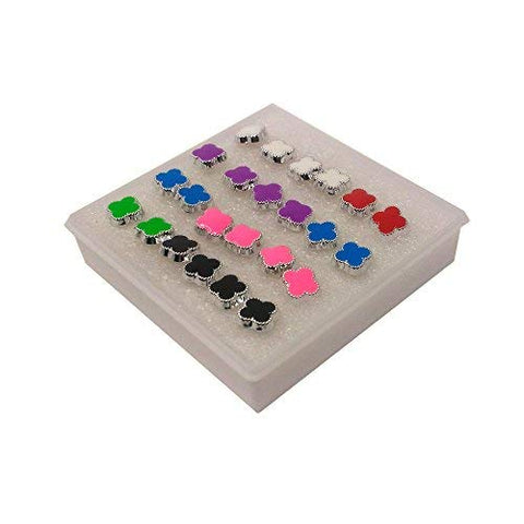 Anokhi ADA Multi-colour Floral Plastic Stud Earrings for Girls and Women (Pack of 12 Pairs)-(AR-14)