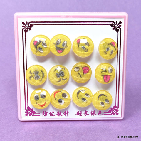 Anokhi Ada Round Smiley Stud Earrings for Girls and Women (Yellow, Pack of 6 Pairs)-AR-15