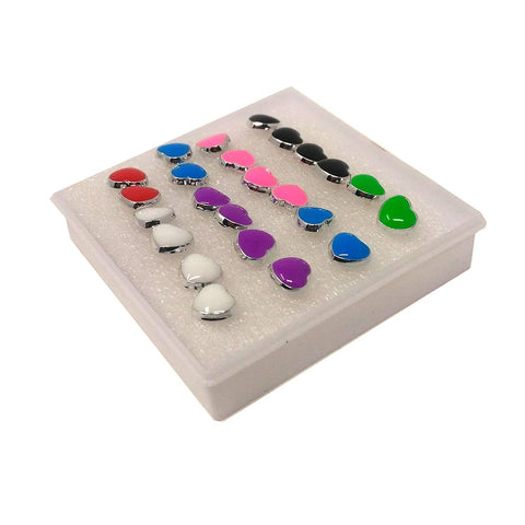 Anokhi ADA Multi-colour Heart Plastic Stud Earrings for Girls and Women (Pack of 12 Pairs)-(AR-16)